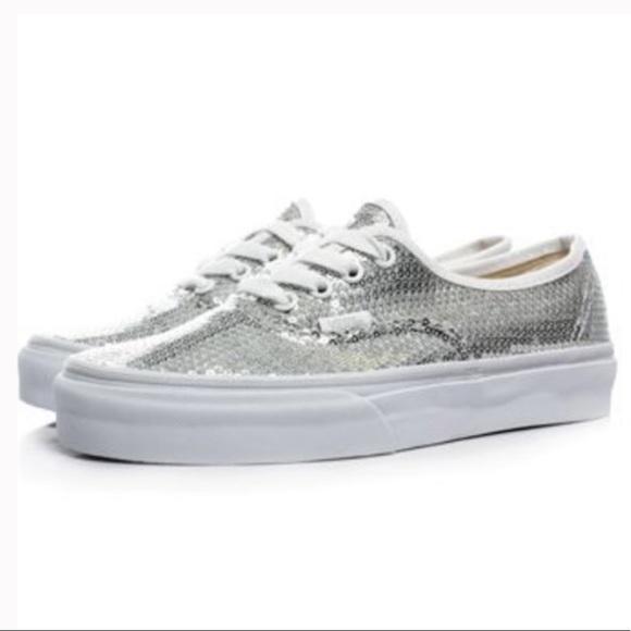 Vans Shoes | Vans White Silver Sequin